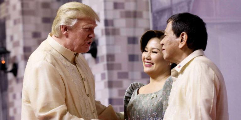 President Rodrigo Duterte and his partner Honeylet welcome US President Donald Trump